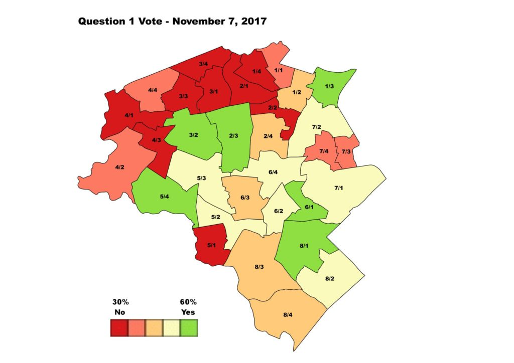 Figure 2: Results of November 7, 2017 ballot Question 1 by precinct, ward.